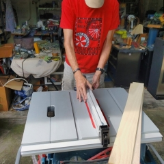 Steve, setting up the fence on the table saw. :hearty eyes: